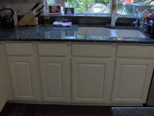 Cabinets after painting and antiquing