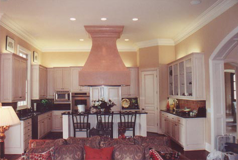 Kitchen on Antiqued Kitchen Cabinets And Faux Painted Aged Vent Hood