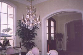 Dining room example of color washing faux painting