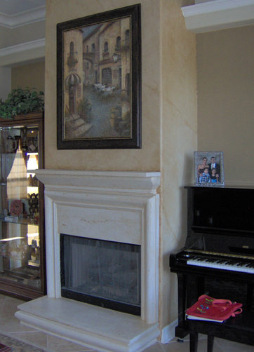 Fireplace after painting and color washing