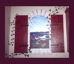 Trompe l'oeil mural scene of Lake Travis with faux finish crackle shutters and ivy