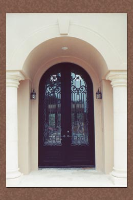 Faux painting silver metal patina on front door insets