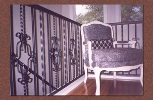 Faux painting silver metal patina on wrought iron railings