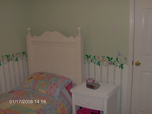 Mural with a White Picket Fence, Garden Flowers, and Animals