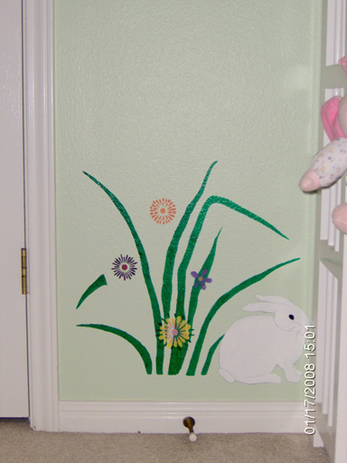 More Flowers, Bunnies, and Bees in a Children's Bedroom Mural