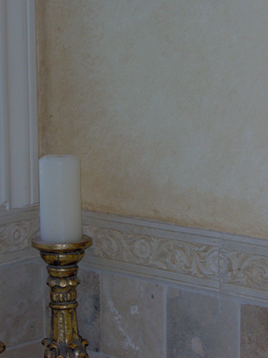 Plaster with aged faux finish detail