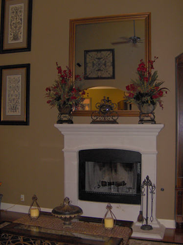 Fireplace before stenciling and color washing