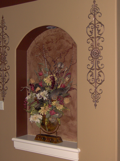 Valspar Venetian Plaster in decorative entry way niche.