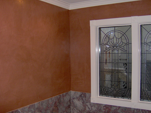 Venetian Plaster faux finish in the Master Bath.